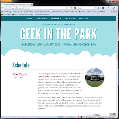 Screen shot of http://2011.geekinthepark.co.uk/schedule.