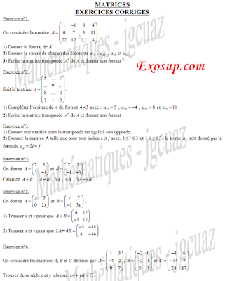 matrices exercices corriges