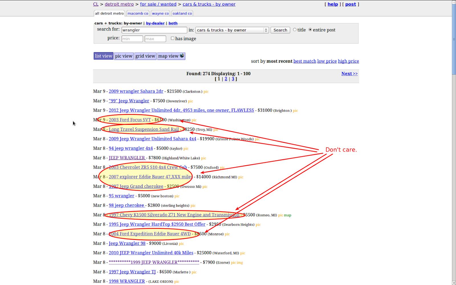 Left Brain Tinkering Regex Filter Craigslist Search Results