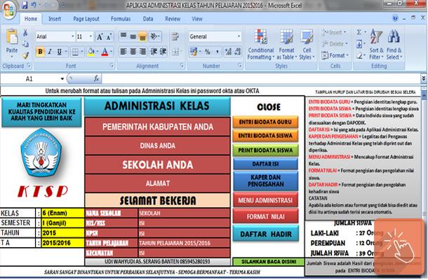Download Aplikasi Administrasi Kelas SD Lengkap dengan Microsoft Excel