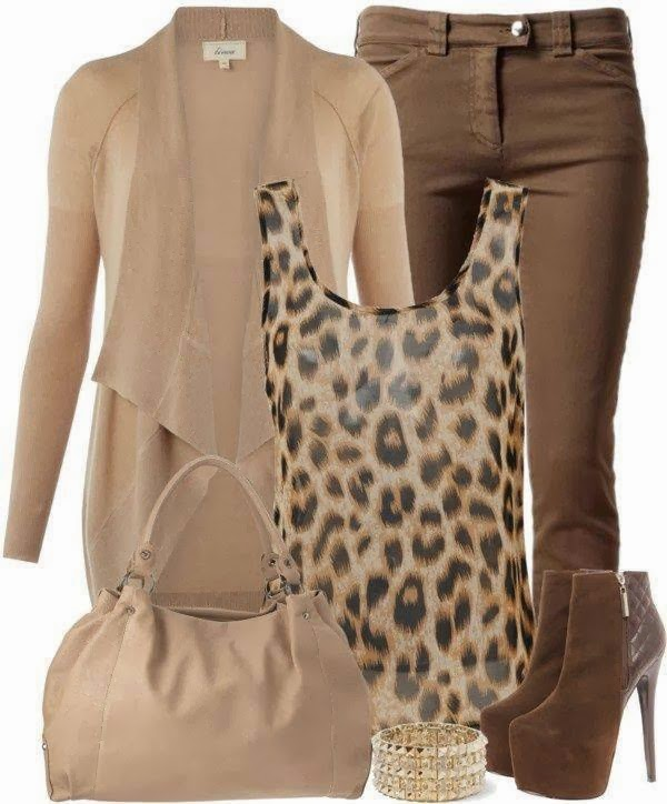 Creamy Cardigan, cheetah skin blouse, handbag and high heels for fall fashion