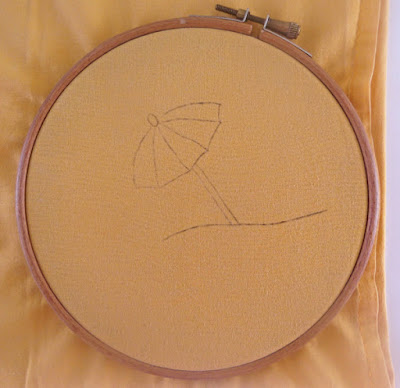 carbon paper, stitching, embroidery, hoop
