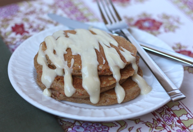 Carrot Cake Pancakes with Maple Cream Cheese Syrup recipe by Barefeet In The Kitchen