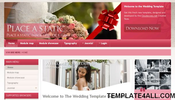 Pink White Wedding Joomla Template