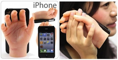 novedad de estuche case protector para iphone 4 y la mano de silicona