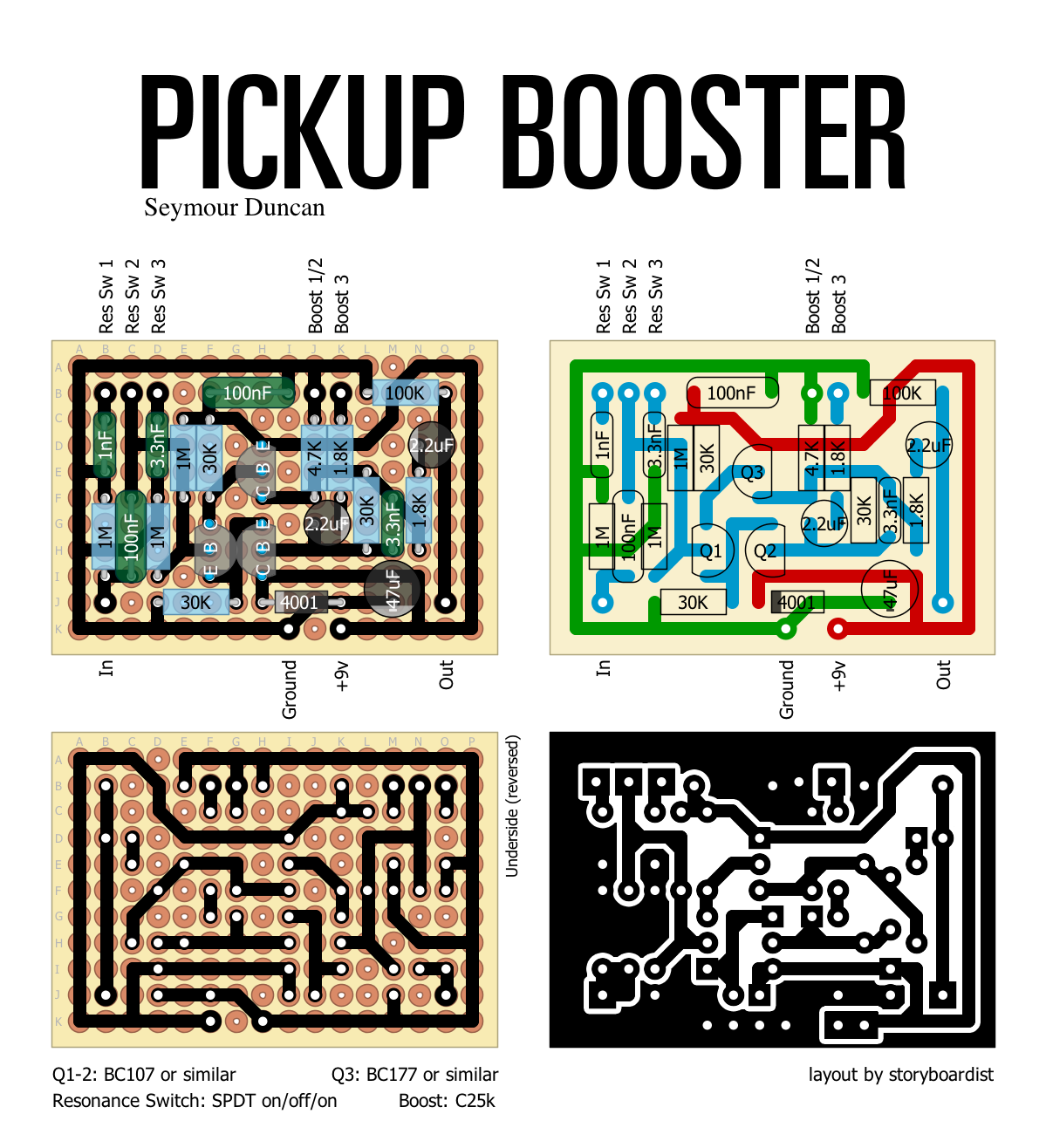 Perf and PCB Effects Layouts: Seymour Duncan Pickup Booster