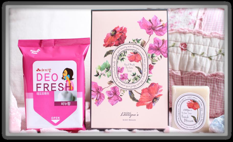 겟잇뷰티박스 by 미미박스 memebox beautybox scentbox 2 baby powder unboxing review preview boxhappy fam deo fresh evas mimi lauryne's perfume soap french blossem