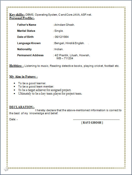 Professional Resume Resume Sample of Post Graduate in Computer – Resume Format for Mca