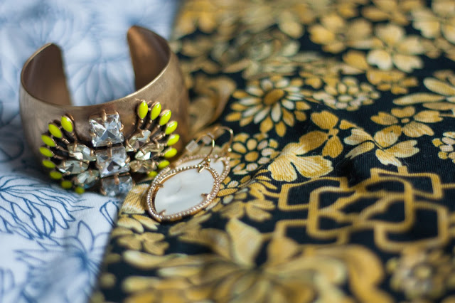 norah cuff, fiona earrings, gold skirt
