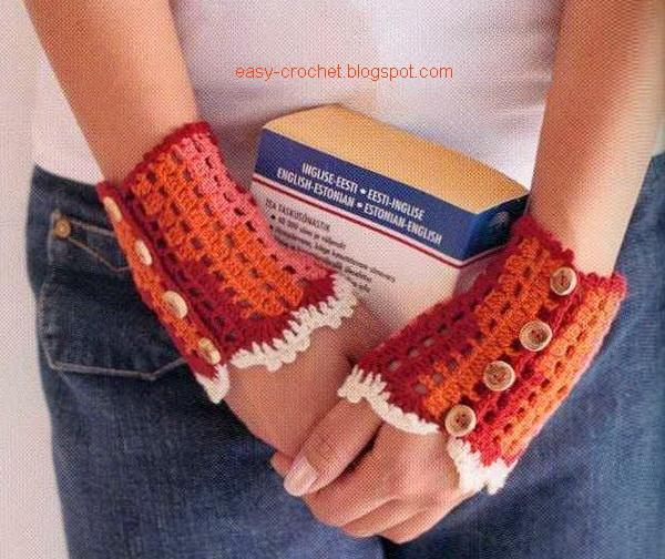 Crochet Fingerless Gloves Picture Tutorial : Stylish Easy Crochet: Crochet Gloves - Fingerless gloves ...