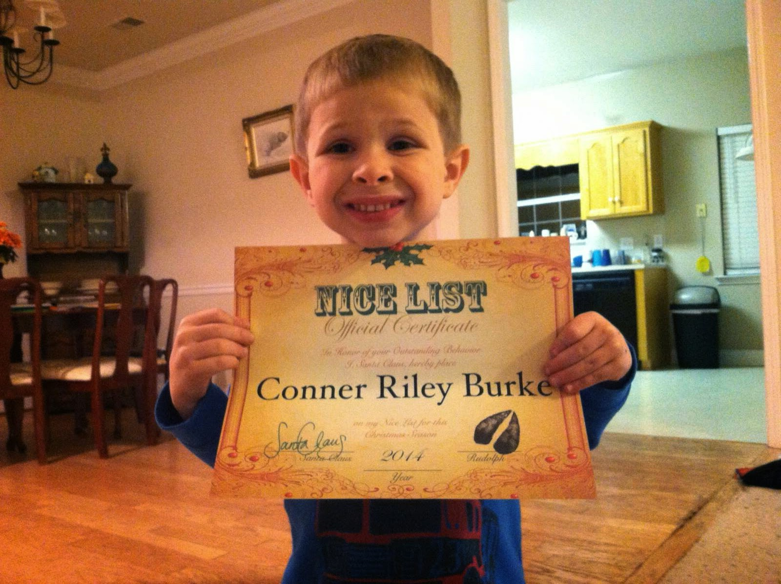Santa Will Write:  Conner makes the NICE list