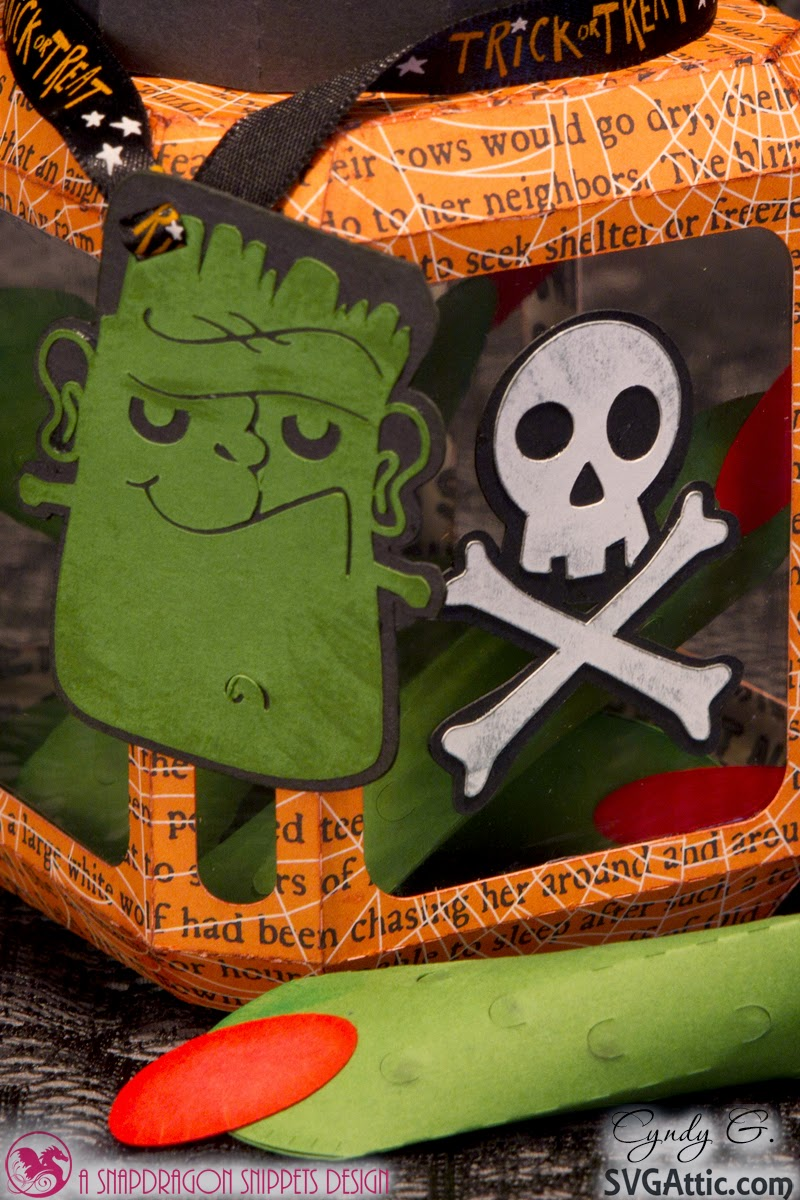 Close up of Frankenstein tag on Halloween Jar