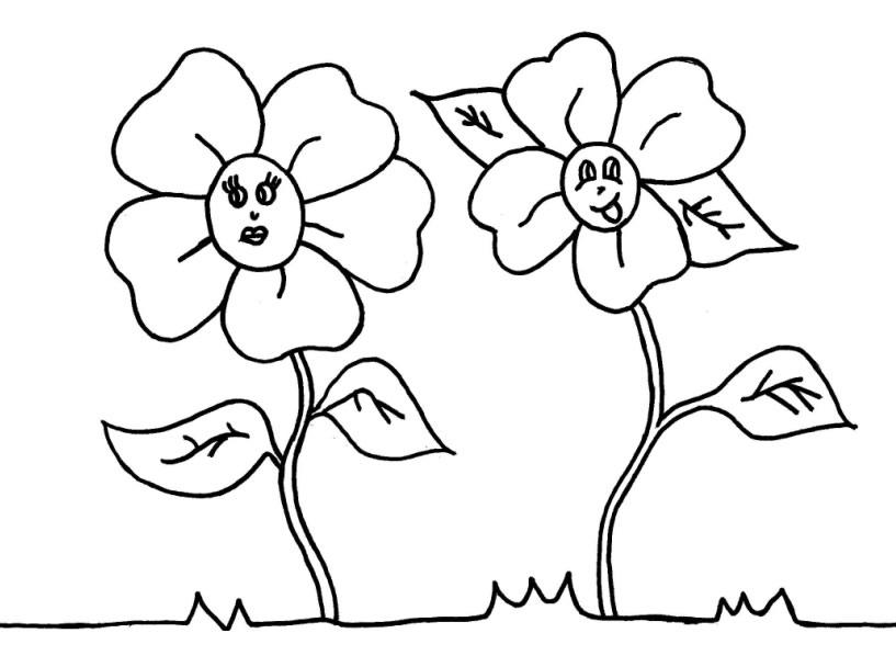 Desenho De Flor Infantil Para Crian  As Colorir