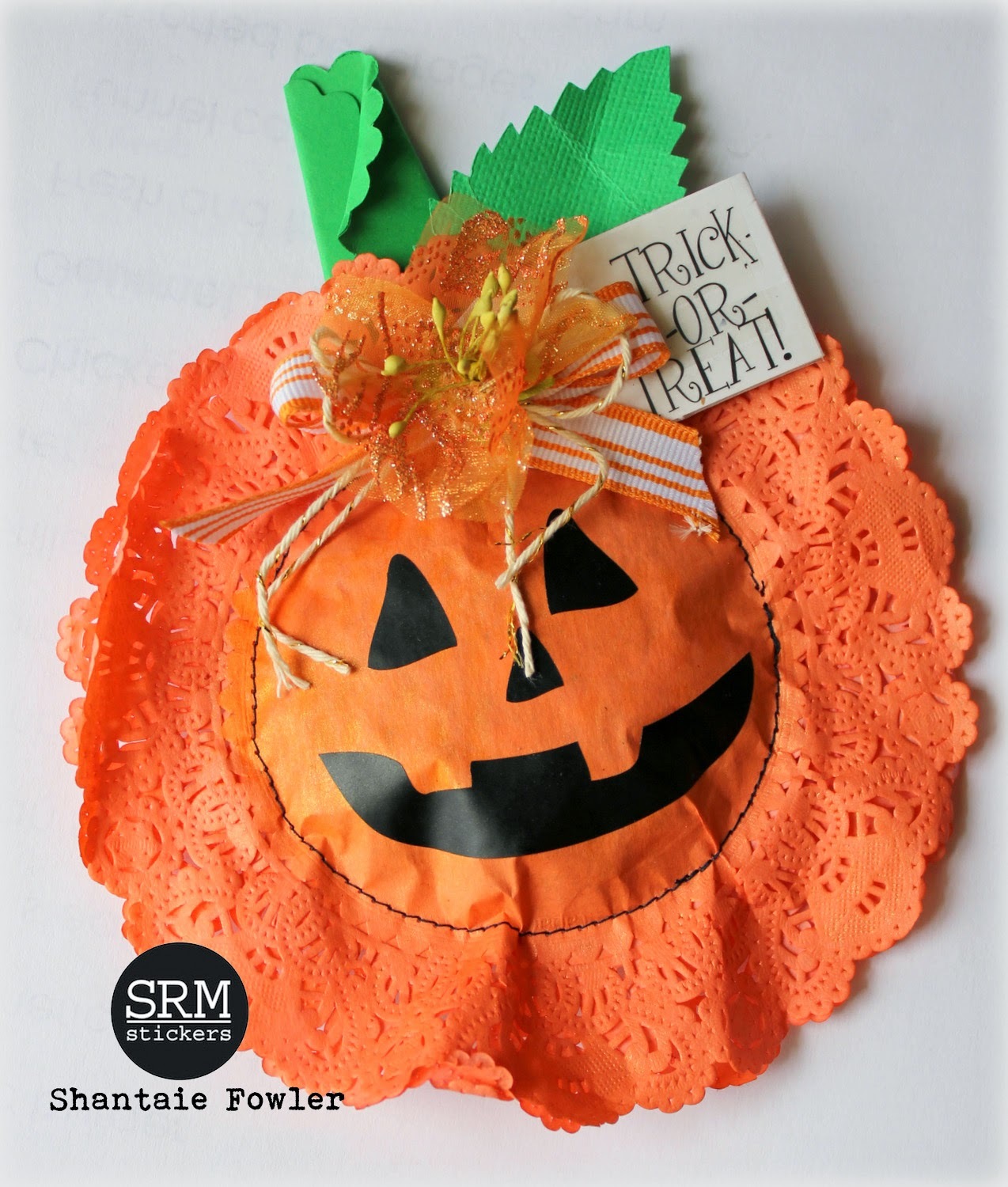 SRM Stickers - Halloween Doily Tutorial Treat by Shantaie - #srmstickers #stickers #halloween #doilies #punchedpieces