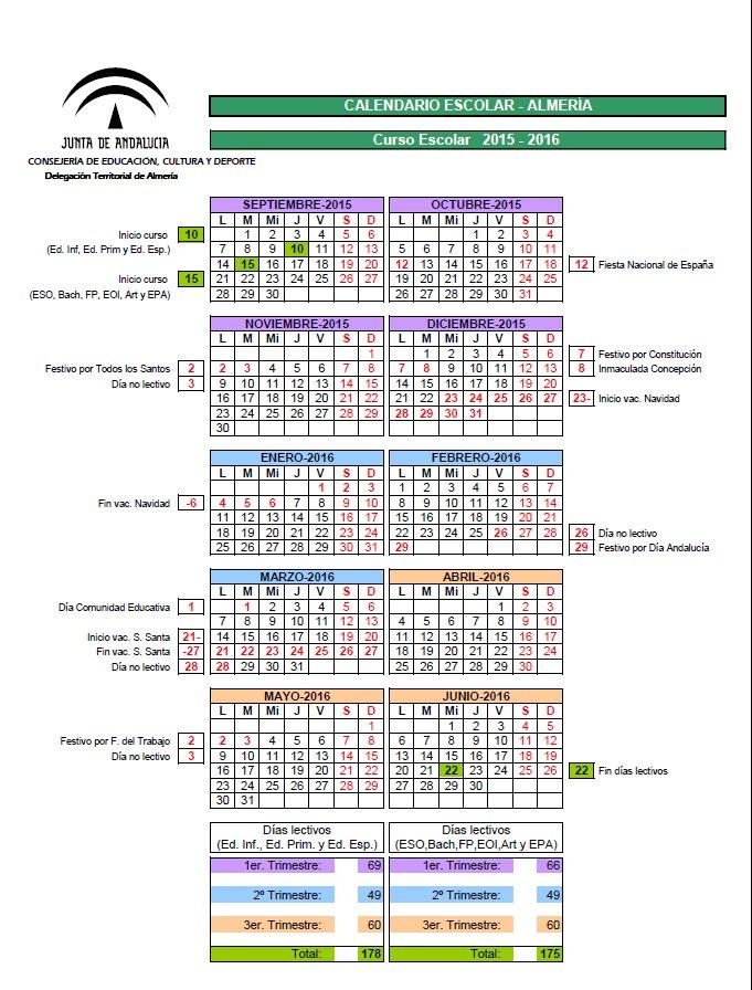 Calendario escolar curso 2015/2016