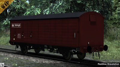 Fastline Simulation: One of the 20 COV AB wagons built with ventilators on each end wearing clean freight brown livery and carrying the VAB TOPS code.