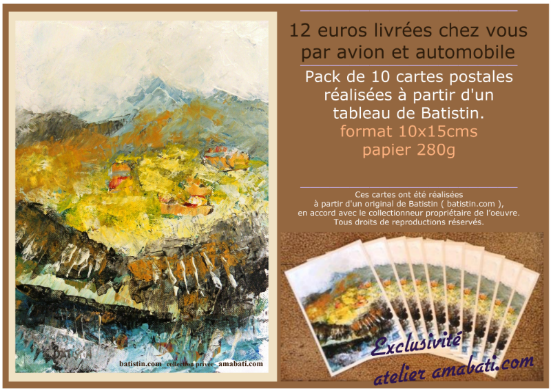 Cartes postales par Batistin artiste contemporain