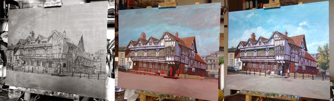 Tudor House Museum, Southampton acrylic painting WIP artist M P Davey