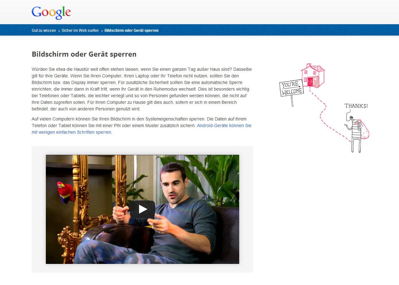 Screenshot Gut zu Wissen Sicherheit Google