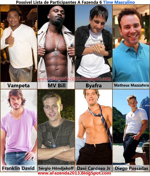 Vaza possível lista de participantes A Fazenda 6 - Homens flagras