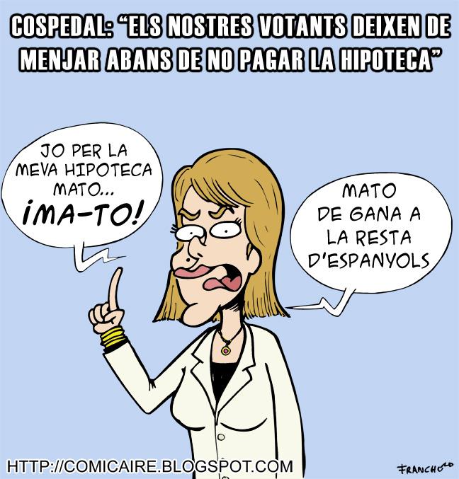 Vinyeta d'humor gràfic sobre el que va dir la politica del PP Maria Dolores de Cospedal sobre la gent que no podia pagar la hipoteca