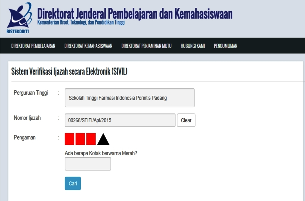 Sistem Verifikasi Ijazah secara Elektronik (SIVIL)