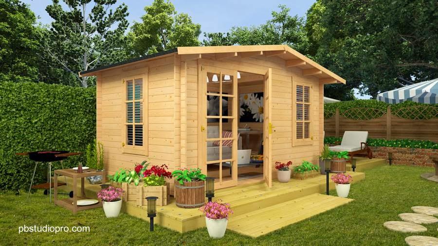 Cabina de madera en jardín