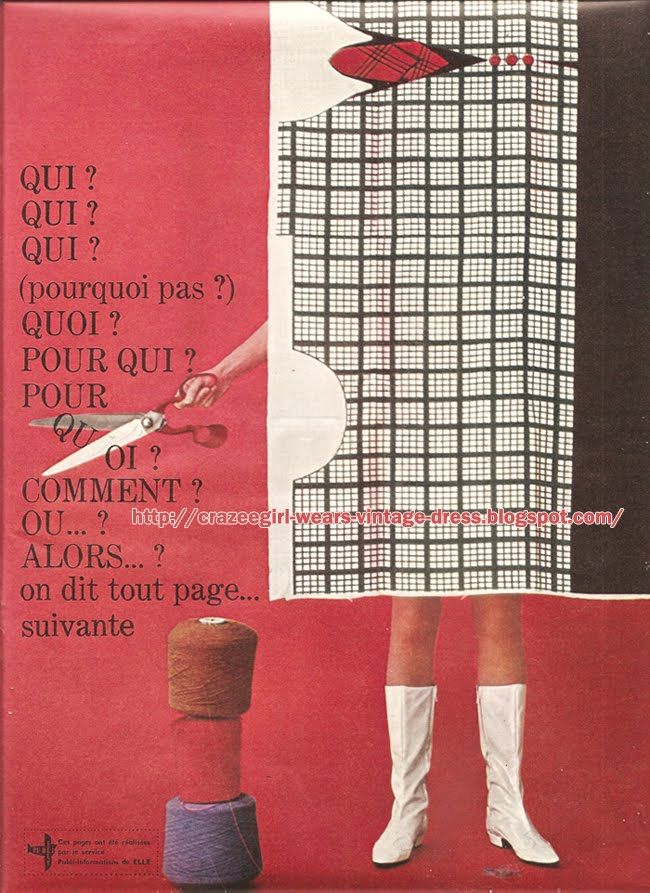 "La robe ""33 tours""  Francoise Hardy Adige dress lp record 60s plaid check 1960 1965 rose flower stripe"