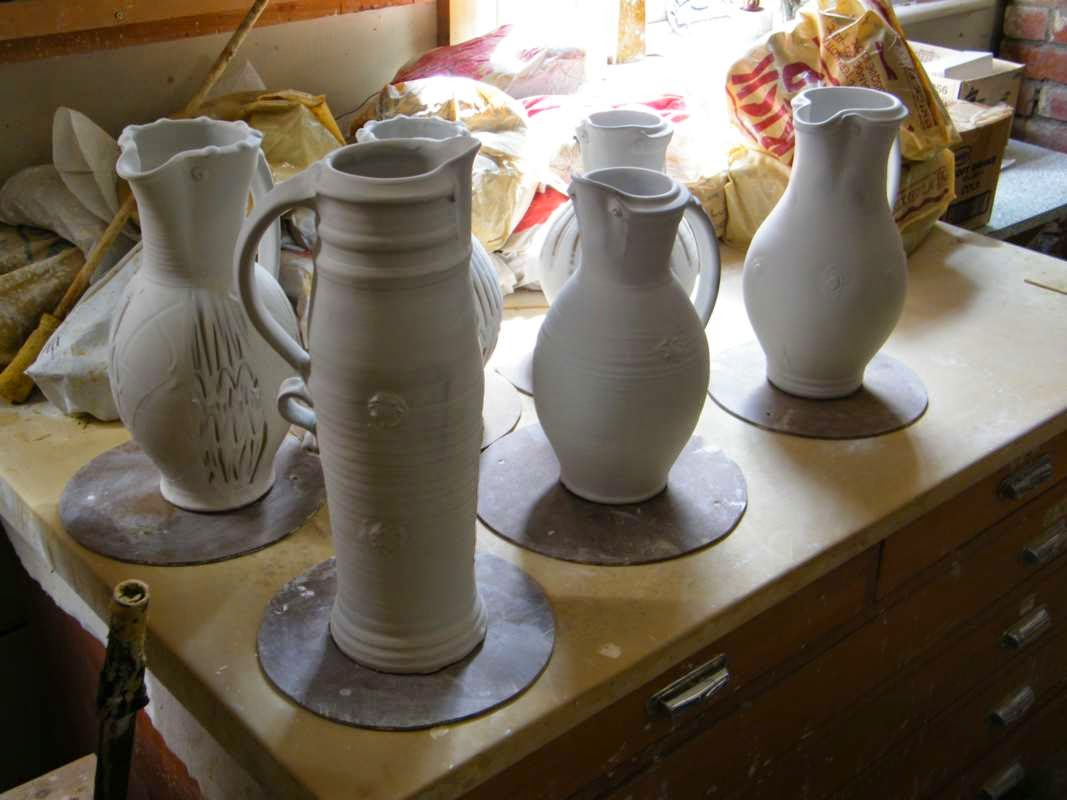Peter\'s Pottery: Pitchers.. More, and Bigger! Decorating with slip ...