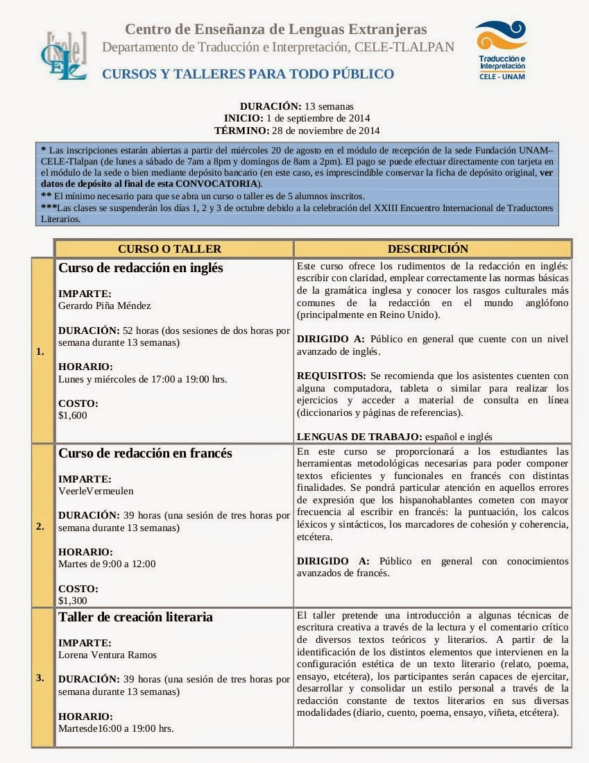 círculo de traductores: agosto 2014