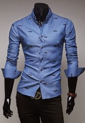Camisa Casual Slim Fit con Detalles - Azul Claro