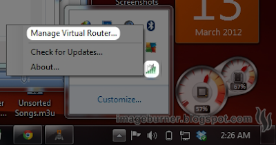 After installation, if Virtual Router doesn't auto-start, double-click on its shortcut icon on the desktop or on the Start menu, or if it does (for most cases) simply right-click on its icon at the system tray and select Manage Virtual Router on the pop-up menu.