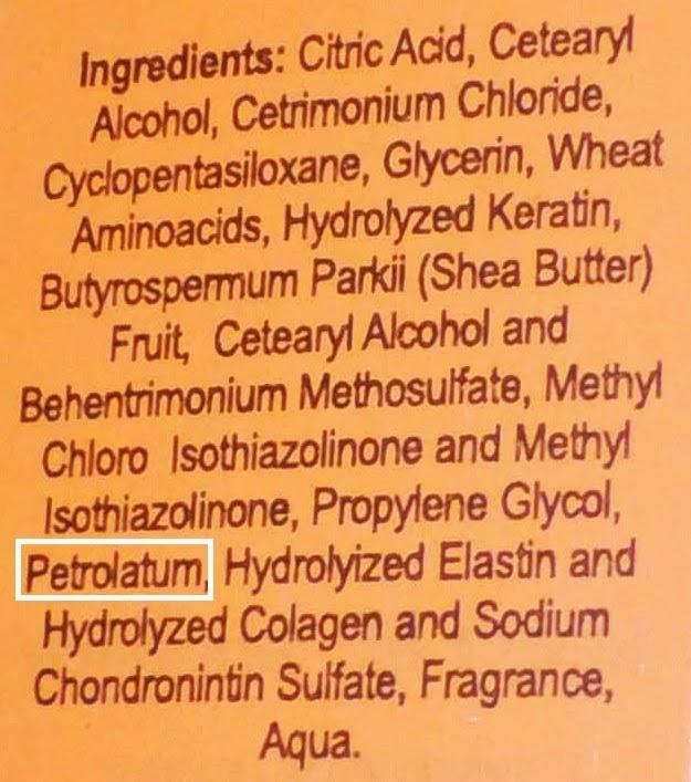 petroleo petrolatum en queratina