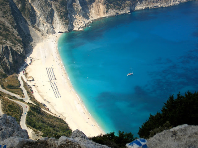 Myrtos beach from above, in the mountains of Kefalonia