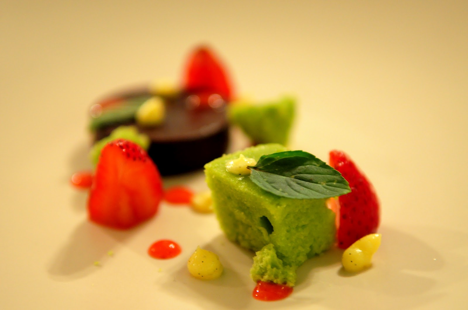 Chocolate Ganache, Sweet Pea Cake, Curdled Vanilla Pudding, Strawberry ...