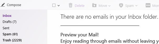 Blank Inbox of Yahoo Mail