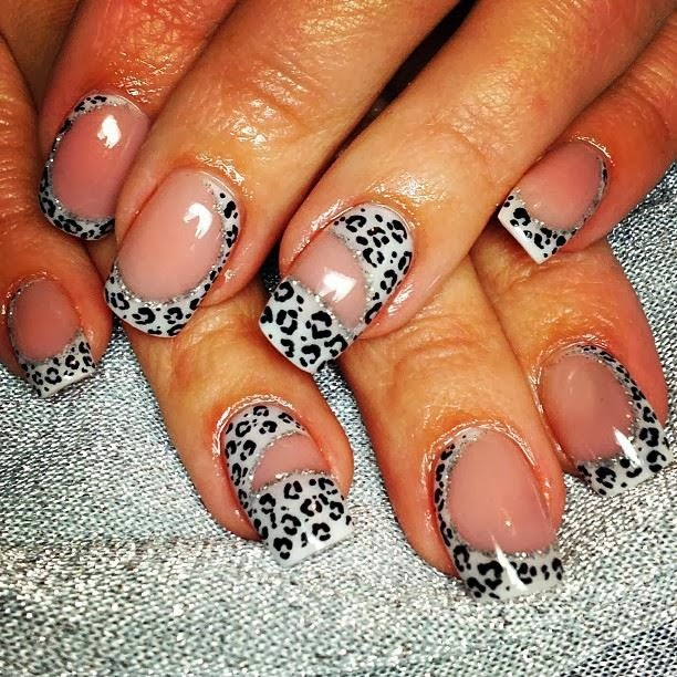 acrylic infill then LED polish manicure in the classic white black leopard spots-set of nails LED-polish-manicure-with-crystals  pedicure-nails-care-natural-healthcare-Gel-Nail-Polish--LED-Nails-Manicure-Acrylic-Nails-Nail-Art-USA-UK