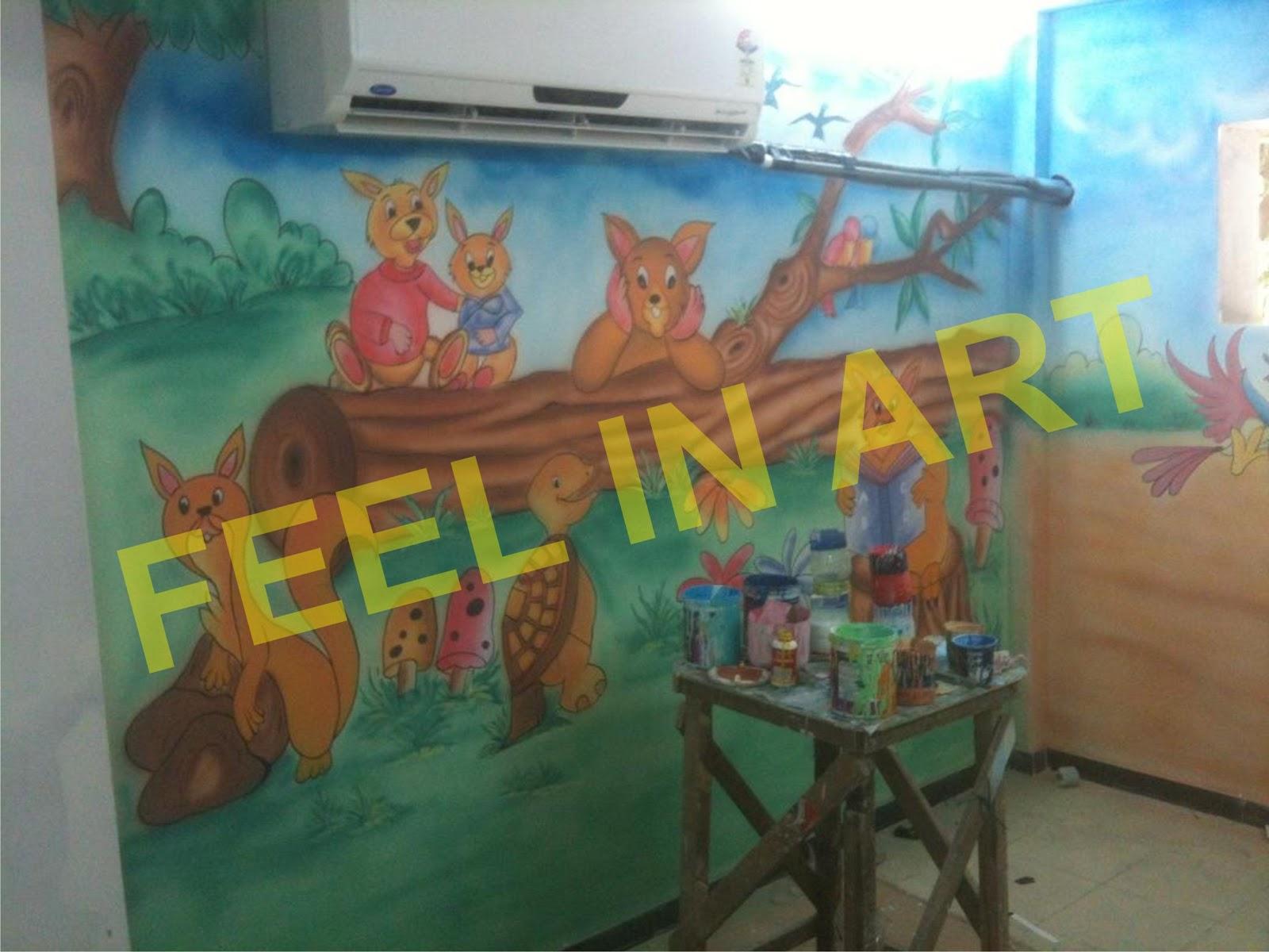 Pre school classroom wall murals thana ghatkoper mumbai for Classroom wall mural