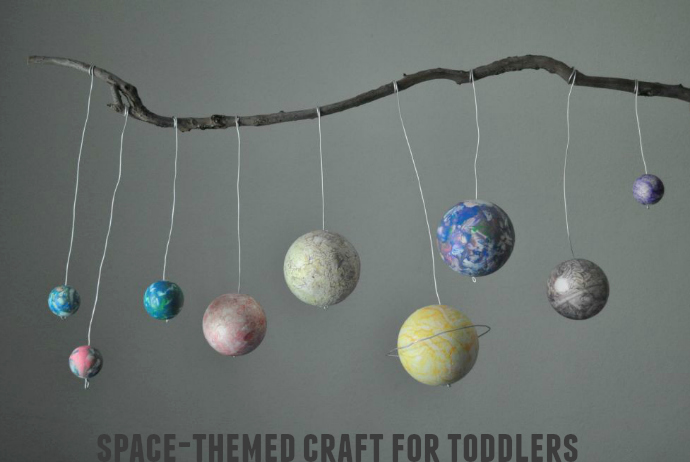 Space-themed play, planets, solar system, craft, toddler craft,