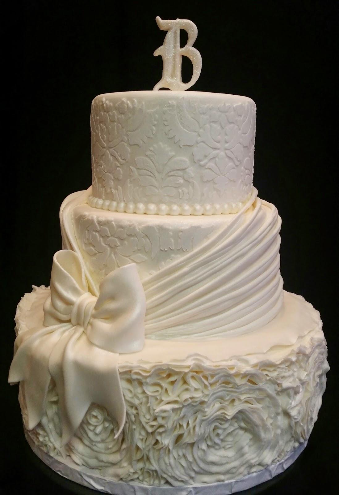 MyMoniCakes: 3 tiered wedding cake design with ruching, ruffled ...