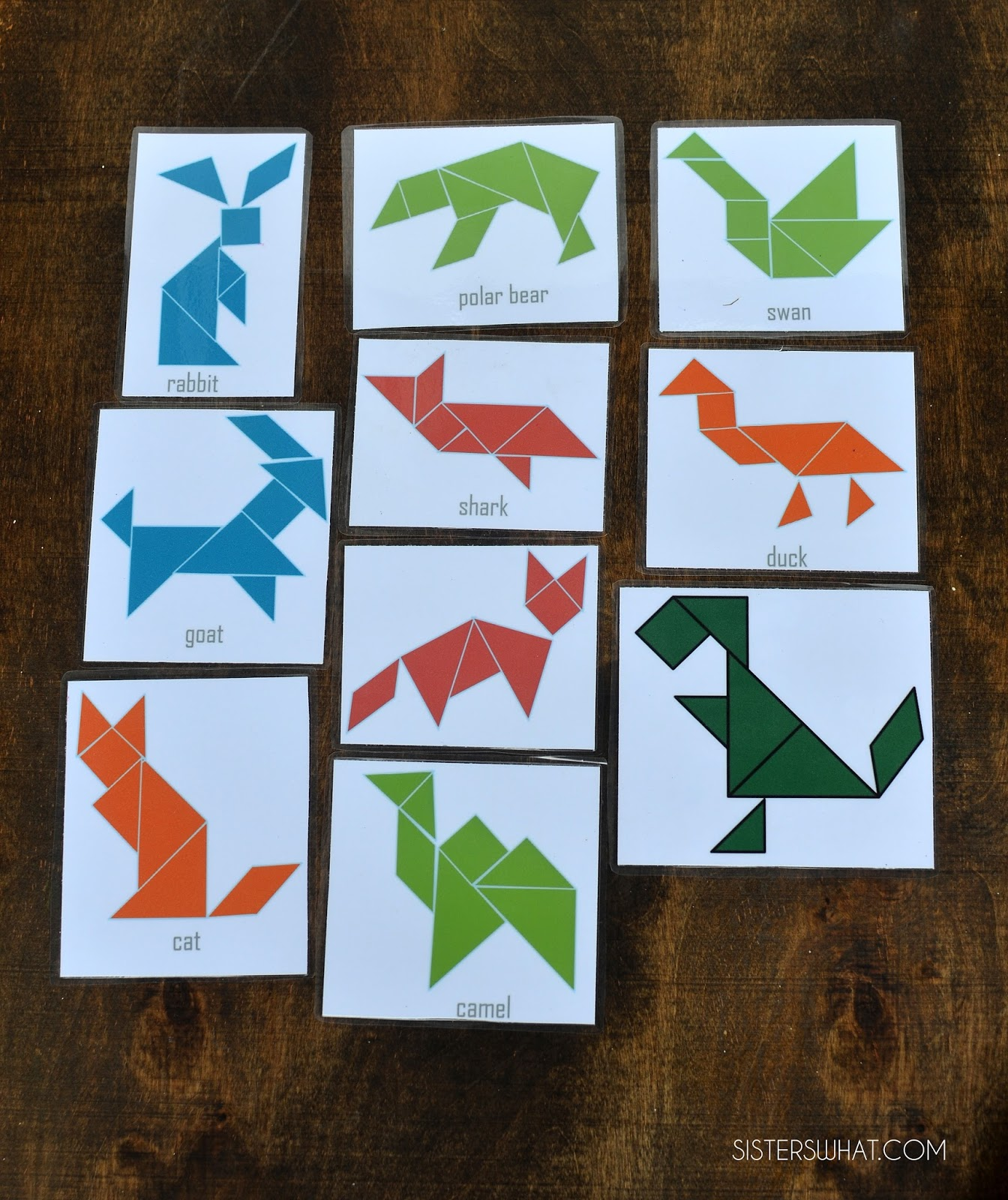 Tangram template for traveling activity