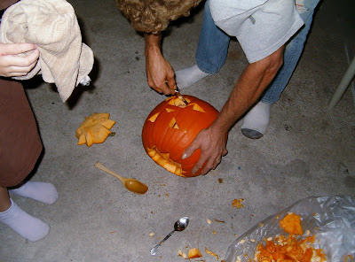 Daddy carving pumpkin 2012