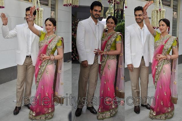 eesha deol engagement saree saree blouse patterns