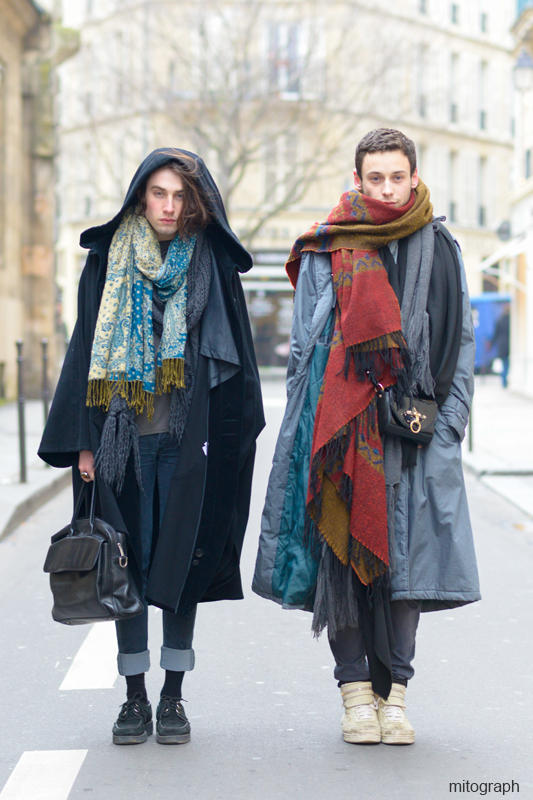 mitograph Emmanuel P Eerie and Bastian Djad at rue des Rosiers Paris Street Style Shimpei Mito