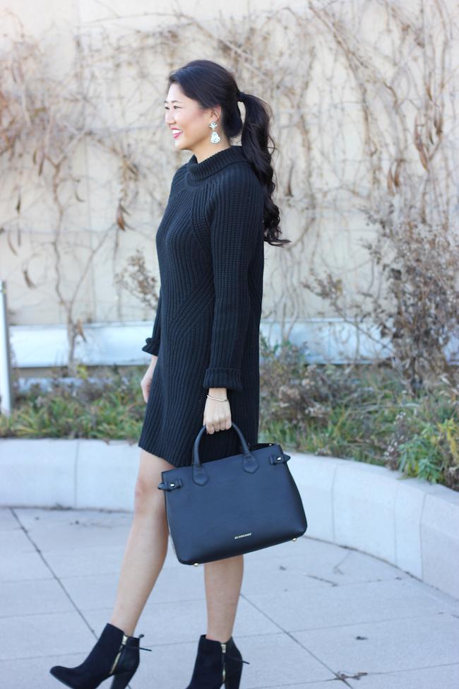 Simply Duo Style Black Turtleneck Sweater Dress