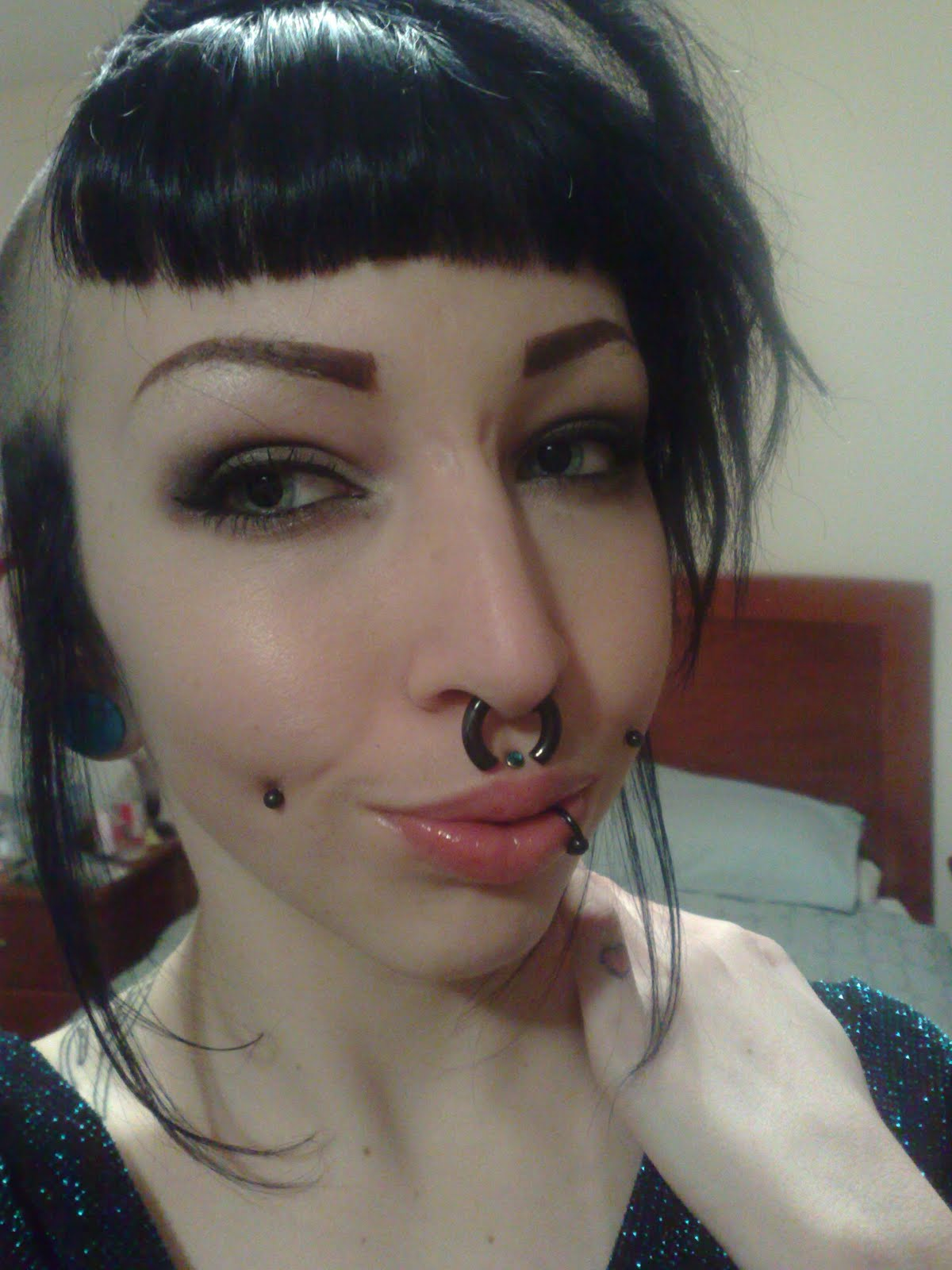 Eyebrow shaved lines congratulate, what