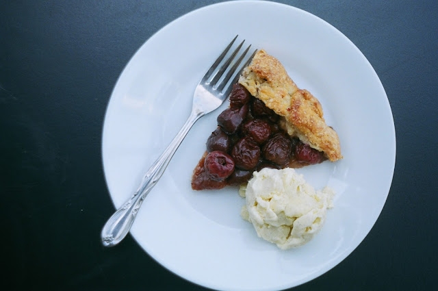 """Old Fashioned"" Cherry Galette Slice with Homemade Vanilla Ice Cream"