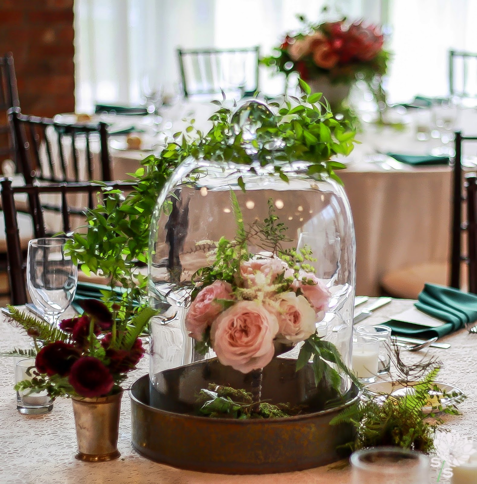 The Roundhouse Wedding - Beacon, NY - Hudson Valley Wedding - Table Centerpiece - Glass Cloch, Mint Julep Cup, Compote Dish Old Books - Wedding Flowers - Splendid Stems Floral Designs