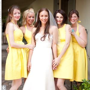 Yellow Black And White Bridesmaid Dresses 4