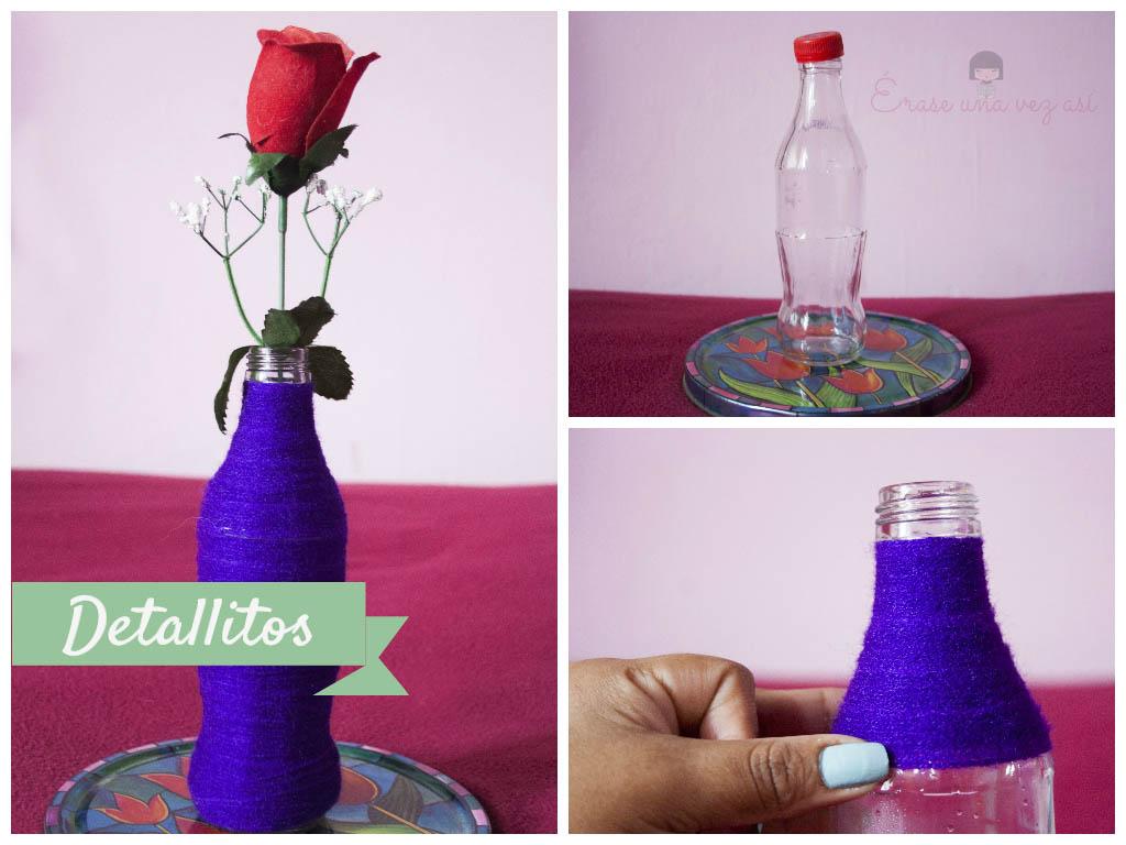 como reciclar botellas de vidrio, Florero de botella decorativa, manualidades de botellas, manualidades faciles, manualidades con reciclaje, decoracion con botellas